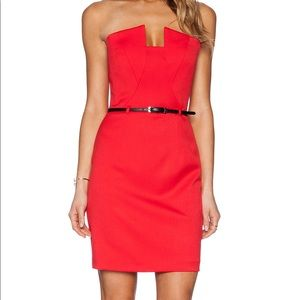 Black halo red Lena strapless mini dress revolve 4